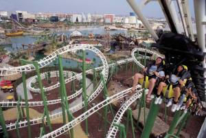 Attraction in Magic Island fairground, Seville Russian mountain well know as ´The Jaguar´